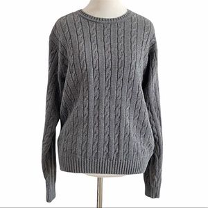 Vintage gray cable knit sweater Izod small